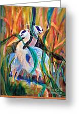 Egrets In Red 2            Greeting Card