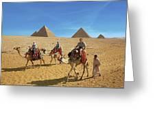Egypt, Cairo, Giza, Tourists Ride Greeting Card