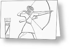 Egyptian Archer And Quiver.  From The Imperial Bible Dictionary, Published 1889 Greeting Card