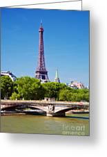 Eiffel Tower And Bridge On Seine River In Paris Greeting Card