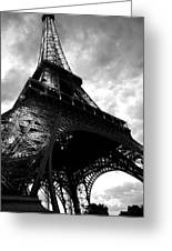 Eiffel Tower In Black And White. Ominous Sky Overhead Greeting Card