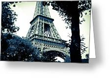 Eiffel Tower In Blue Greeting Card