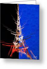 Eiffel Tower In Red On Blue  Abstract  Greeting Card