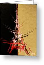 Eiffel Tower In Red On Gold  Abstract  Greeting Card