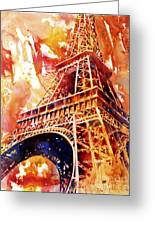 Eiffel Tower In Red Greeting Card