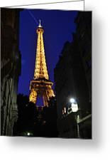Eiffel Tower Paris France At Night Greeting Card