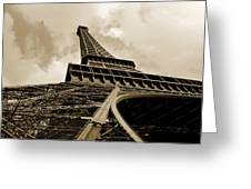 Eiffel Tower Paris France Black And White Greeting Card