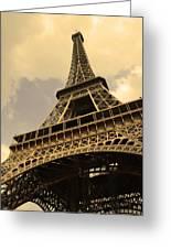 Eiffel Tower Paris France Sepia Greeting Card by Patricia Awapara