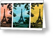 Eiffel Tower Paris France Trio Greeting Card