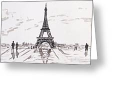 Eiffel Tower Rainy Day Greeting Card by Kevin Croitz