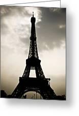 Eiffel Tower Silhouette Greeting Card by Nila Newsom