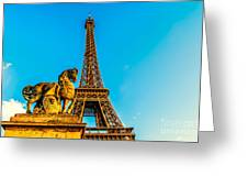 Eiffel Tower With Horse Greeting Card