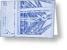 Eiffel Towers Steel Frame Blueprint Greeting Card