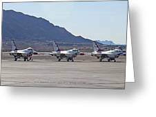 Eight F-16 Thunderbird Falcon's On Static Display Nellis Greeting Card