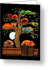 Eight Tree Cats Greeting Card