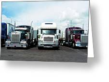 Eighteen Wheeler Vehicles On The Road Greeting Card