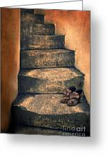 Eighteenth Century Shoes On Old Stairway Greeting Card