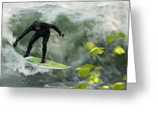 Eisbach Surfing Greeting Card