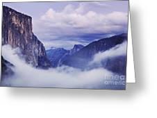 El Capitan Rises Above The Clouds Greeting Card