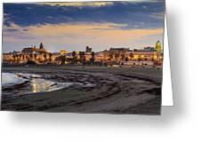 El Rompidillo Beach Panorama Cadiz Spain Greeting Card