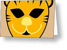 El Tigre Luchador Orange Black Beige Greeting Card