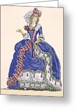 Elaborate Court Dress In Electric Blue Greeting Card