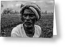 Elderly Indian Farmer Greeting Card