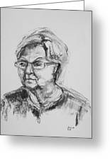Elderly Lady With Glasses Greeting Card
