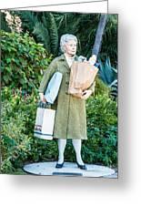 Elderly Shopper Statue Key West Greeting Card