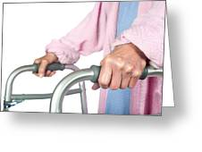 Elderly Woman Using Walker Greeting Card