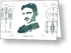 Electric Arc Lamp Patent Art Nikola Tesla Greeting Card