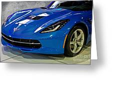 Electric Blue Corvette Greeting Card