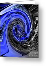 Electric Blue Wound Into Black And White Abstract Greeting Card
