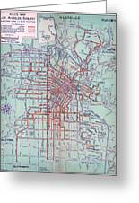 Electric Car And Bus Routes In La  Greeting Card