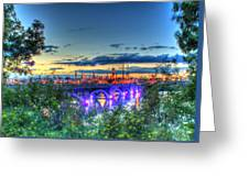 Electric City Refinery Bridge Greeting Card