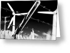 Electric Fence Black And White Greeting Card