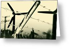 Electric Fence Silhouette Greeting Card