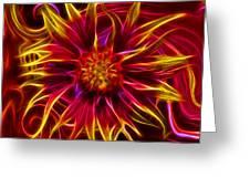 Electric Firewheel Flower Artwork Greeting Card