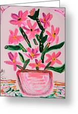 Electric Pink Flowers Greeting Card