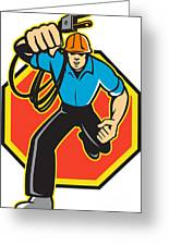 Electrician Worker Running Electrical Plug Greeting Card
