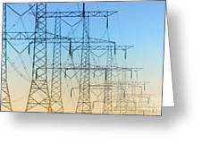 Electricity Pylons Standing In A Row Greeting Card