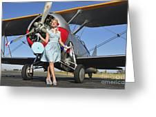 Elegant 1940s Style Pin-up Girl Greeting Card