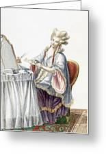 Elegant Lady At Her Dressing Table Greeting Card by Pierre Thomas Le Clerc