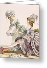 Elegant Lady Having Her Feet Washed Greeting Card