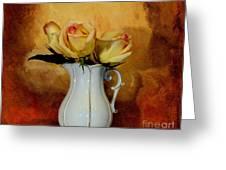 Elegant Triple Roses Greeting Card by Marsha Heiken