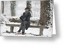 Elegant Woman Sitting On A Bench Greeting Card
