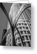 Element Of Duenos Do Los Estrellas Statue With Miami Downtown In Background - Black And White Greeting Card by Ian Monk