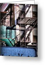 Elemental City - Fire Escape Graffiti Brownstone Greeting Card