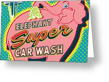 Elephant Car Wash And Space Needle - Seattle Greeting Card