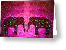 Elephant Impressions In Magenta Greeting Card